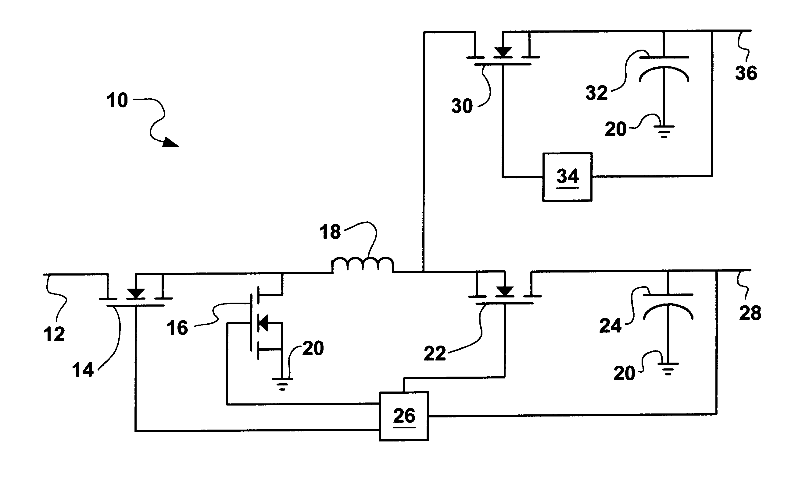 Analytics For Us Patent No 6222352 Multiple Voltage Output Buck Inductor In A Circuit Low Cost Converter Is Provided Using Single Pulse Width Modulator Integrated And Two Mosfets Plus One