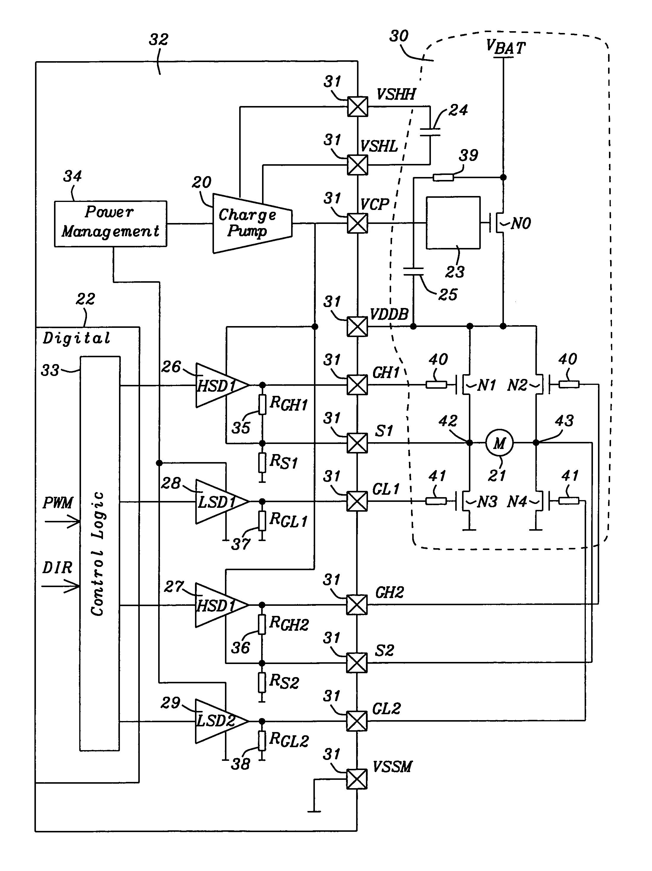 Analytics For Us Patent No 6977533 32v H Bridge Driver With Cmos Double Diffused Mos Dmos The Motor Is Connected To Battery Supply By An Additional N Channel Transistor Implement A Reverse Protection