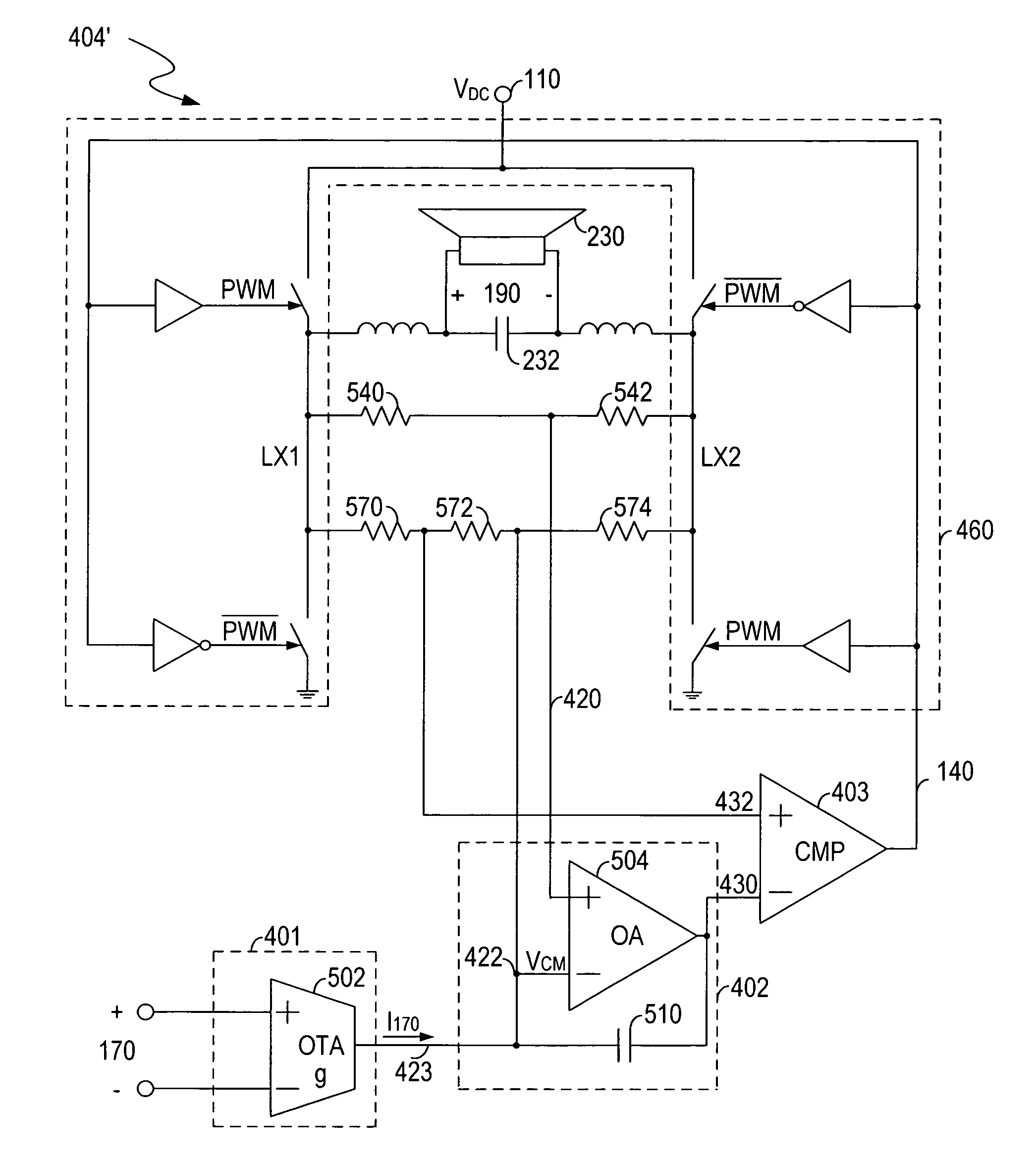 Analytics For Us Patent No 7501886 Low Distortion Class D Amplifier Circuit Diagram The Full Bridge Coupled To Comparison Stage Is Used Receiving A Power Supply And Pulse Width Modulation Signal Generating