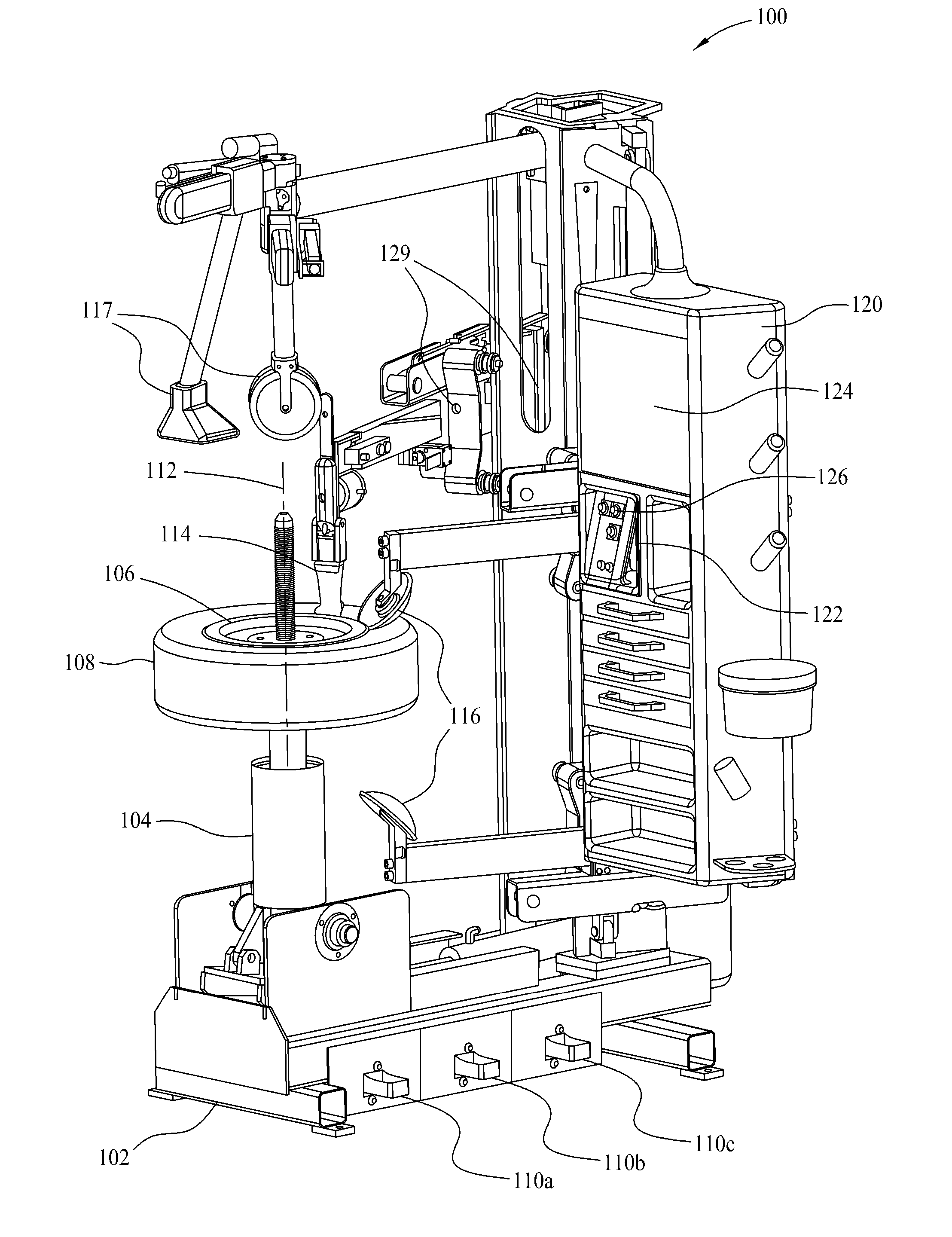 Analytics For Us Patent No 8613303 Tire Changing Machine With This Application Diagram Indicates How Loadsensing Valves Control Successful Component Position Profiles May Be Saved Future Recall And Execution By The