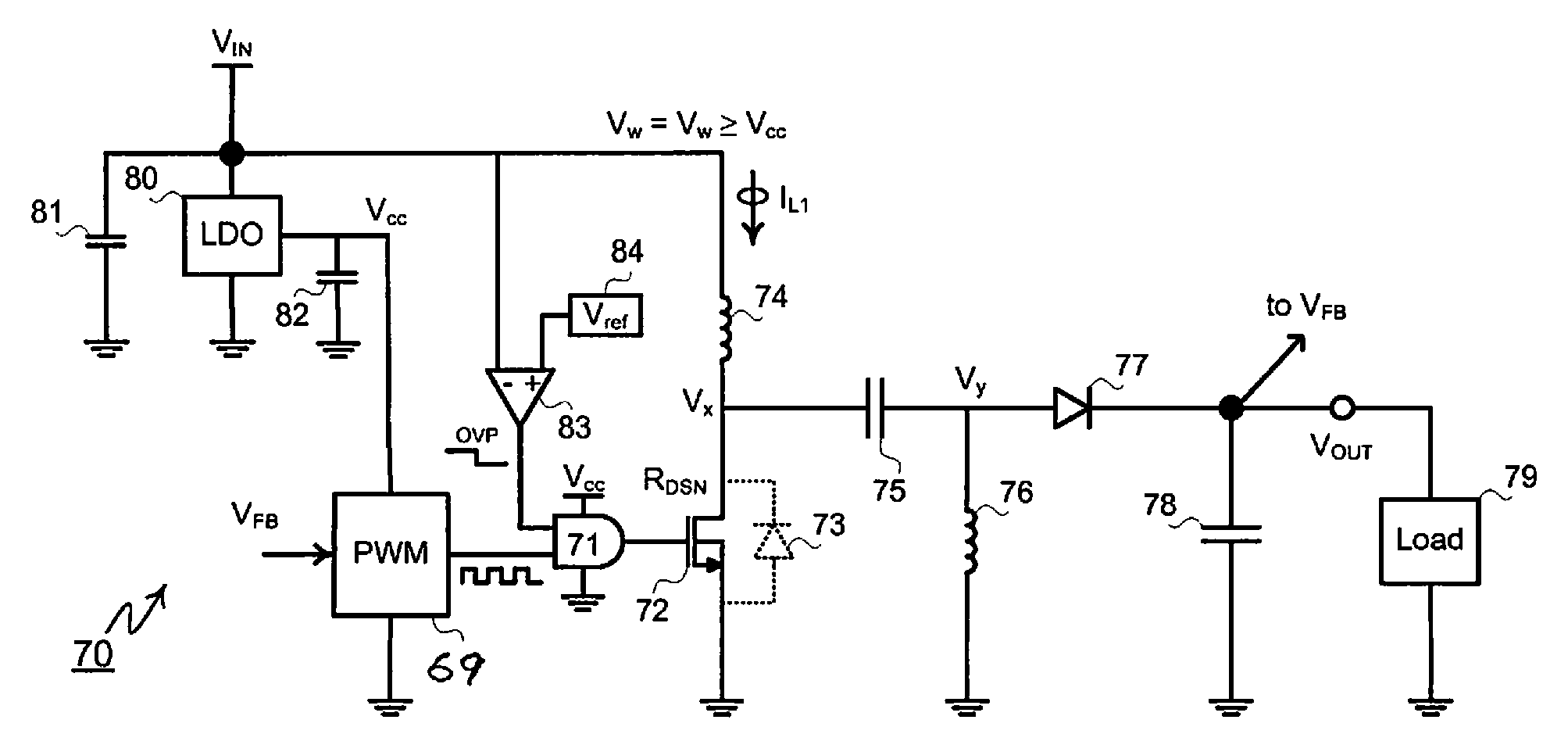 Analytics For Us Patent No 8704503 Single Ended Primary Inductor Mosfet Protection Circuit Value Vref The Comparator Output Causes Over Voltage To Disconnect Node Vw And Pwm Control From Input Supply