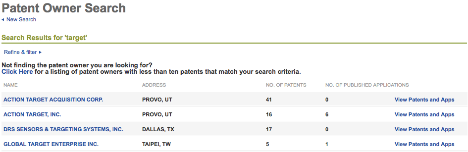 Patent Owner Results